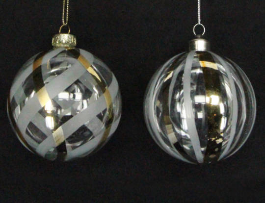 Glass Ball Clear, Gold Pattern 8cm