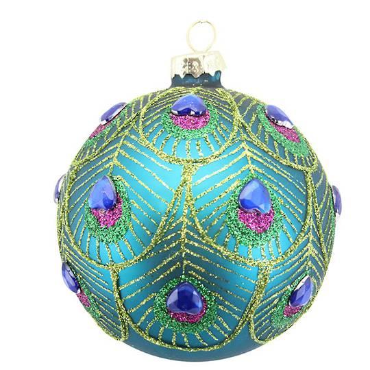 Glass Ball Turq, Peacock Design Gems 8cm