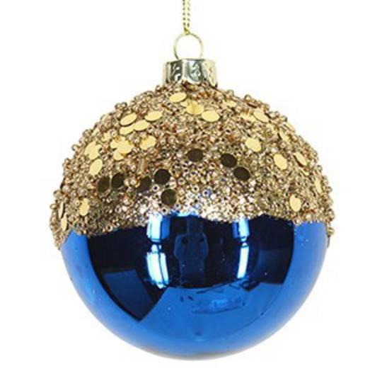 Glass Ball Blue, Gold Top 8cm