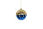 Hanging Glass Ball Blue with Gold Top