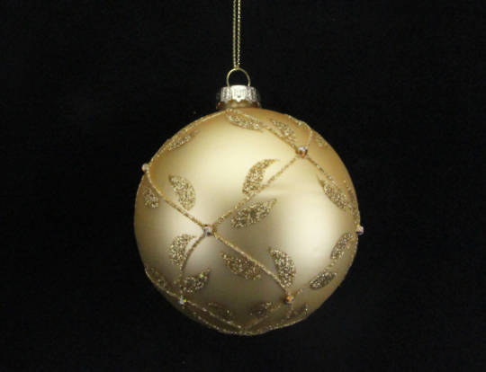 Glass Ball Matt Gold, Gold Trellis 8cm