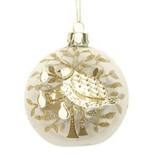 Glass Ball Clear, Partridge and Tree 8cm