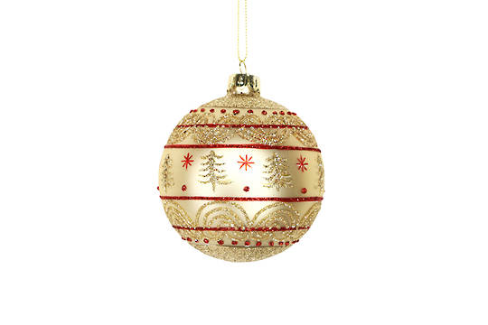 Hanging Glass Ball Matt Gold with Trees and Red Lines