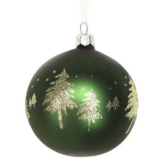 Glass Ball Dark Green, Gold Trees 8cm