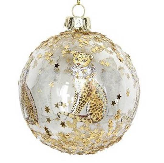 Glass Ball Clear, Gold Leopard 8cm