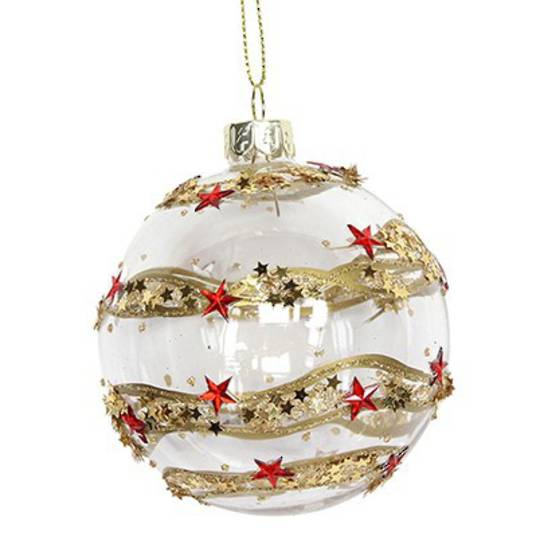 Glass Ball Clear, Gold Band, Red Stars 8cm