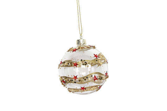 Hanging Glass Ball, Clear with Gold Band and Red Stars