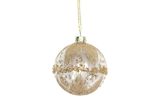 Hanging Glass Ball, Clear with Gold Band/Feathers