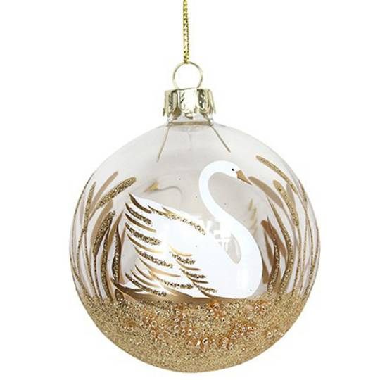 Glass Ball Clear, Swan 8cm