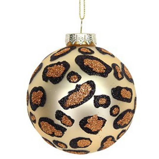 Glass Ball Matt Gold, Leopard Spots 8cm