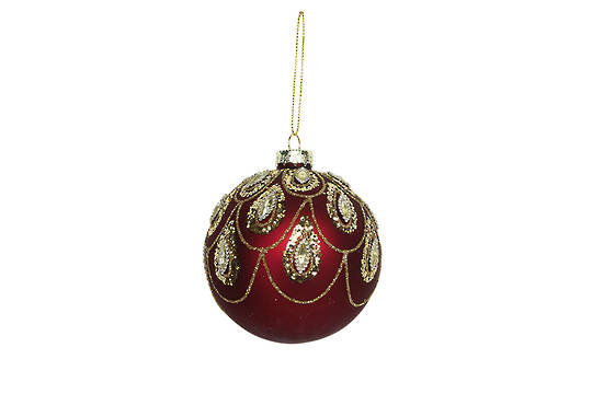 Hanging Glass Ball, Matt Red w/Gold Swags