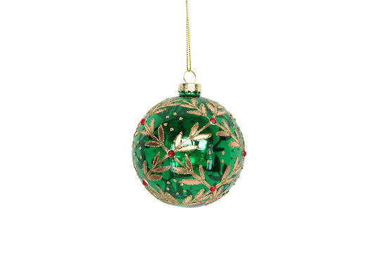 Hanging Glass Ball, Trans Green with Gold Leaf Pattern
