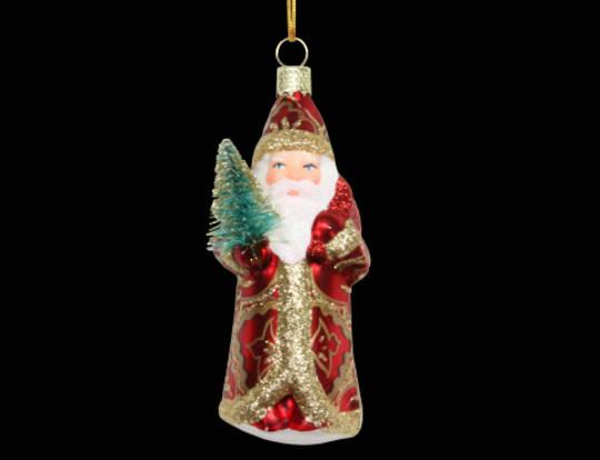 Glass Mini Vintage Santa with Tree
