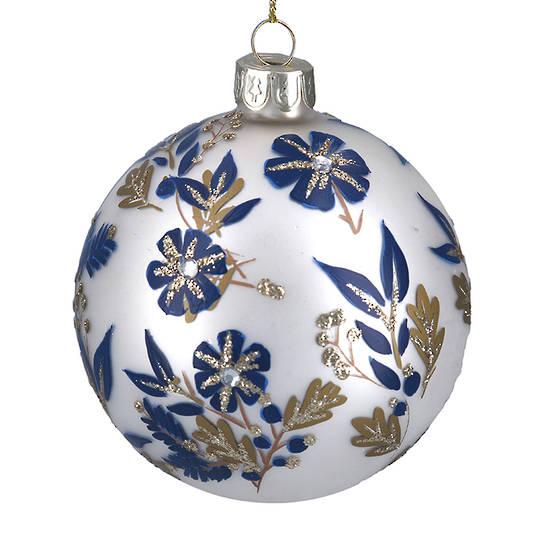 Glass Ball Matt White, Blue Flowers 8cm
