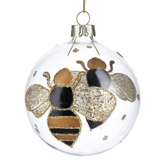 Glass Ball Clear with Bumble Bee 8cm SOLD OUT