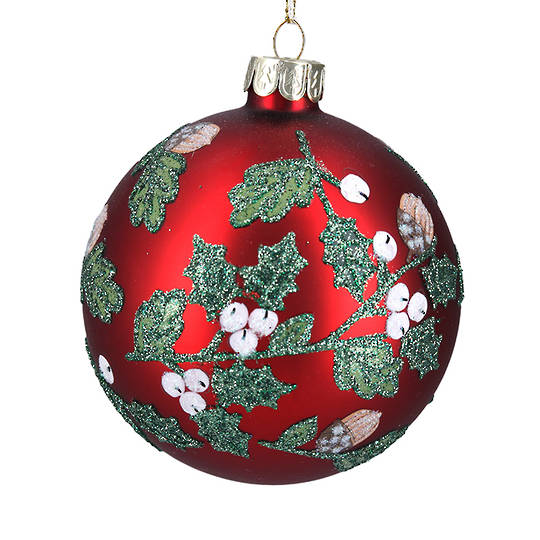 Glass Ball Matt Red With Acorns, Holly and Berries 8cm