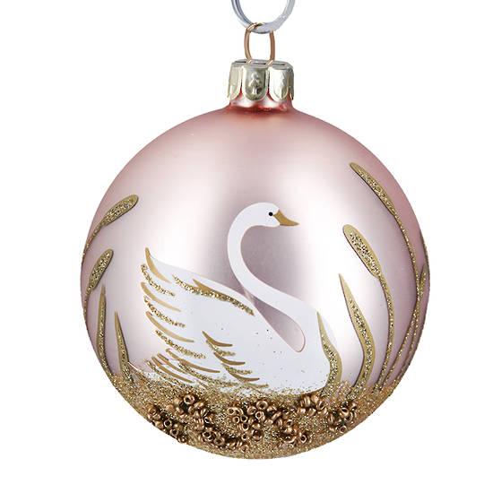 Glass Ball Matt Pink, Swan 8cm