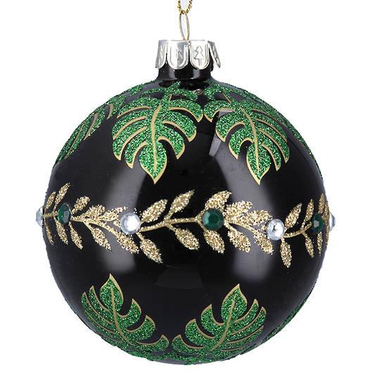 Glass Ball Gloss Black, Green Leaves 8cm
