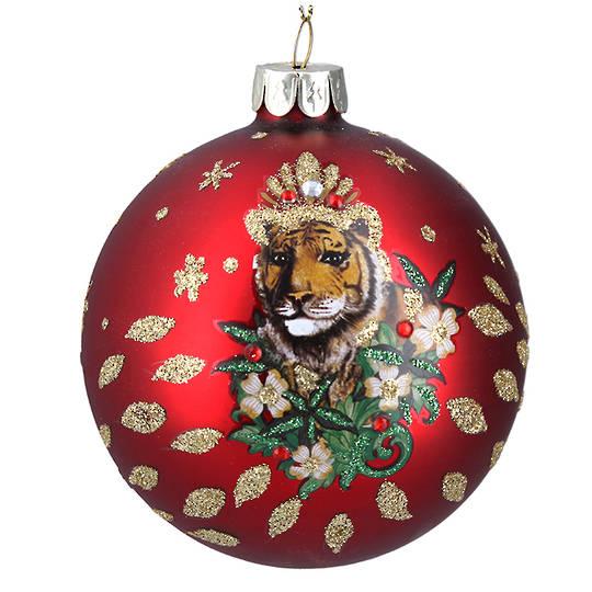 Glass Ball Matt Red with Tiger 8cm
