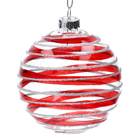 Glass Ball Clear, Red and Silver Stripes 8cm