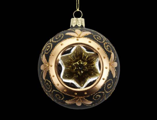 Glass Ball Matt Black, Gold Star Dimple 8cm