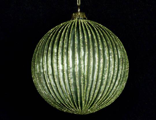 Glass Ball Matt Green, Thin Rib 8cm