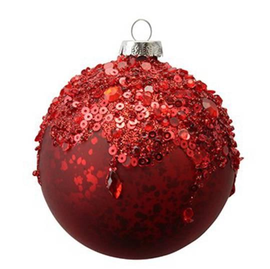Glass Ball Matt Red, Red Sequin Top 8cm