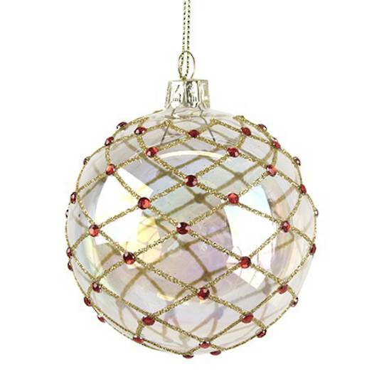Glass Ball Soap Bubble, Gold Trellis 8cm