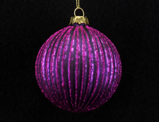 Glass Ball Fuchsia, Thin Rib 8cm