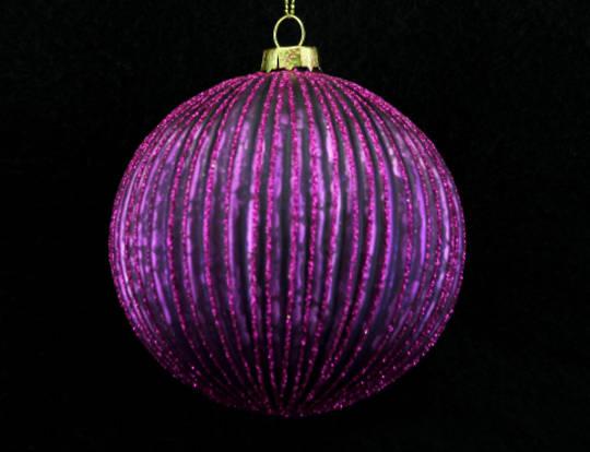 Glass Ball Fuchsia, Thin Rib 10cm