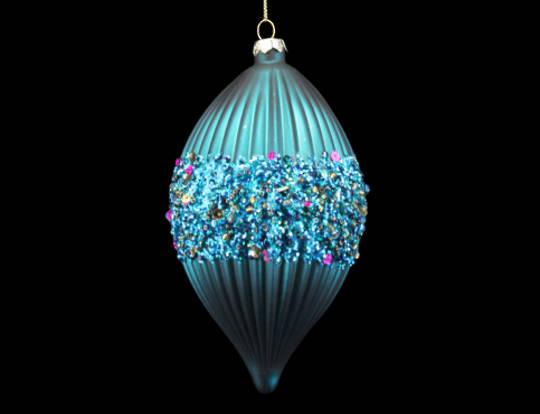 Glass Olive Aqua Ribbed w/Glitter Band 12cm