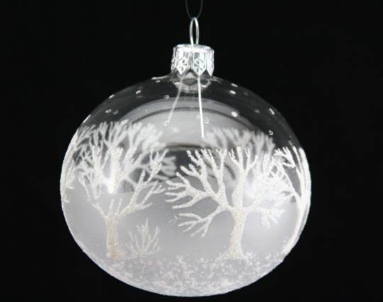 Glass Ball Clear, Frost, White Glitter Trees