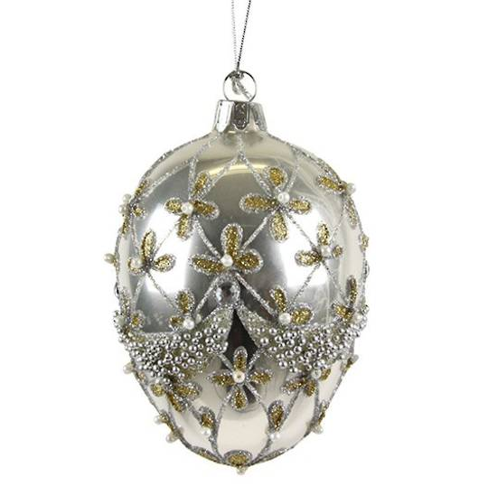 Glass Faberge Egg, Antique Silver 10cm