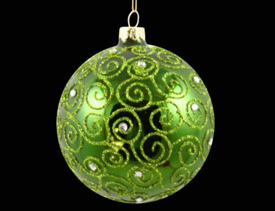 Glass Ball Metallic Grass Green w/Filigree 8cm
