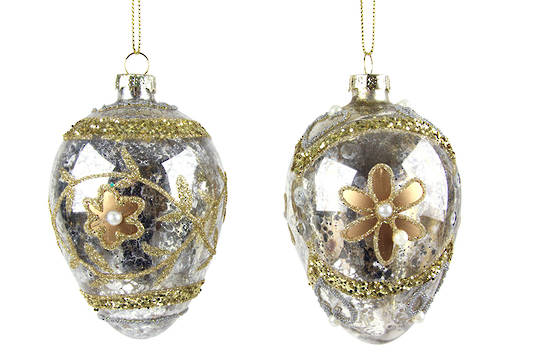 Glass Faberge Egg, Silver w/Gold Flower 10cm