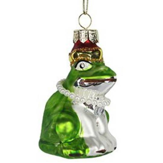 Glass Frog with Pearl Necklace