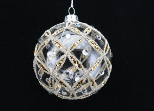 Glass Ball Clear, Bead Gold and Silver 8cm