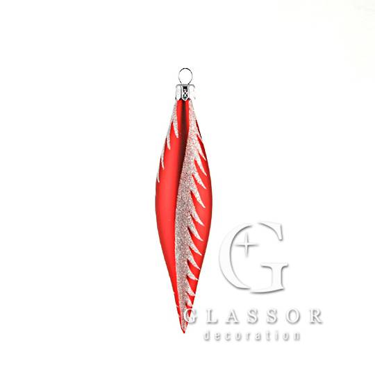 Glass Drop Red, White Snow Swirl 14cm
