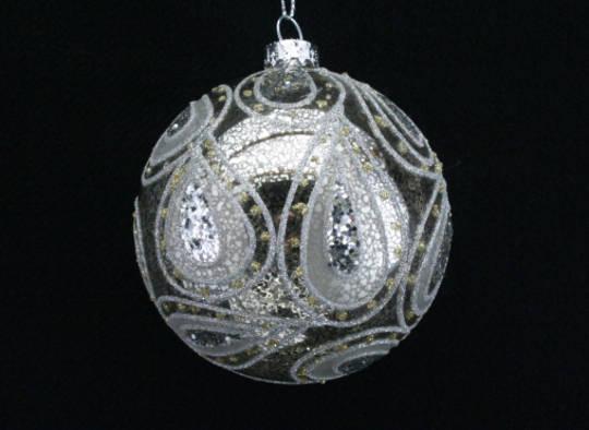 Glass Ball Clear, Antique Silver 8cm
