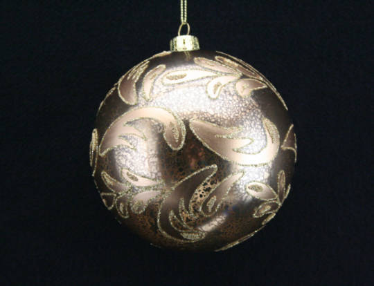 Glass Ball Gold with Glitter Leaves 10cm