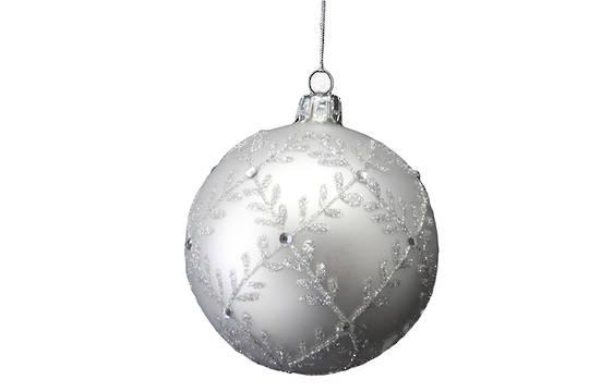 Glass Ball Matt Silver with Gltter Leaf Trellis 8cm