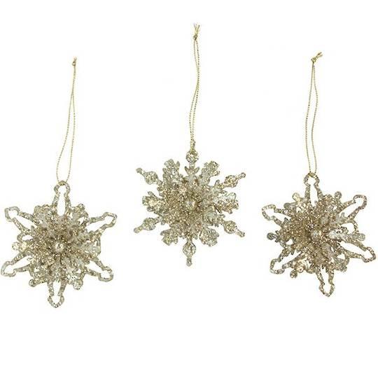 Tin Gold Glitter Snowflake 8cm