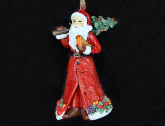 Hanging Resin Santa with Tree