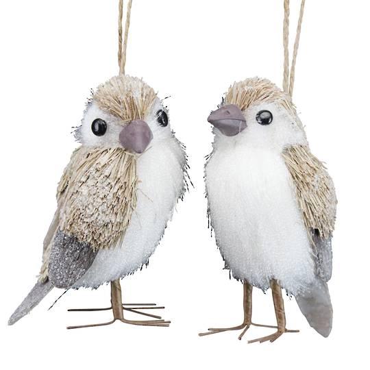 Bristle Snowy Standing (or Hanging) Bird 9cm