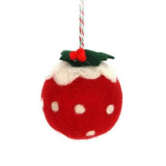 Wool Ball Red Christmas Pudding 6cm