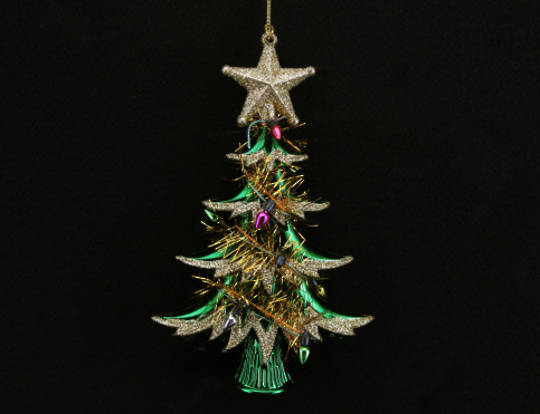 Acrylic Tinsel Tree Green and Gold 15cm