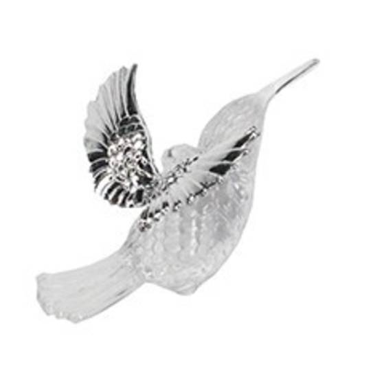 Clear and Silver Hummingbird 6cm