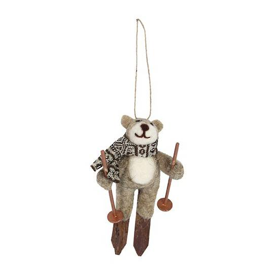Wool Teddy on Skis 14cm