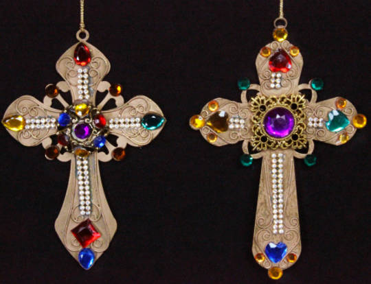 Gold Metal Cross with Jewels 15cm