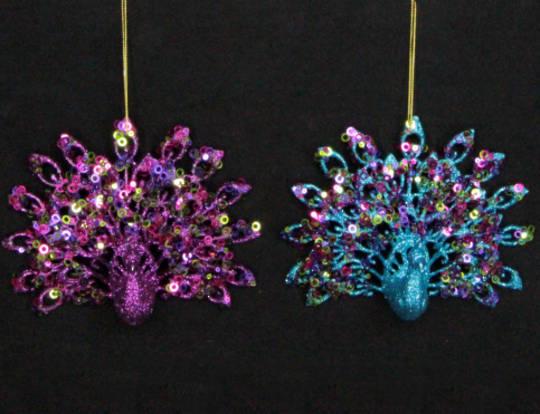 Hanging Fantail Peacock Purple/Blue Glitter